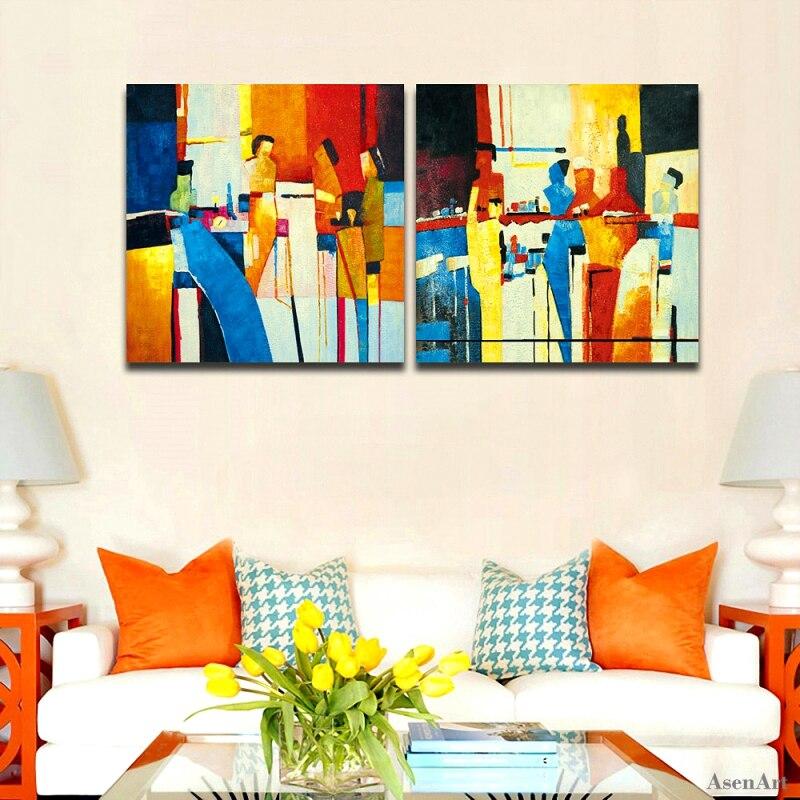 Bez rámečku Ručně malované Abstraktní Olejomalba 2ks Moderní Nástěnné obrazy Malování na plátno Umění pro obývací pokoj Bar Nástěnné umění plakát