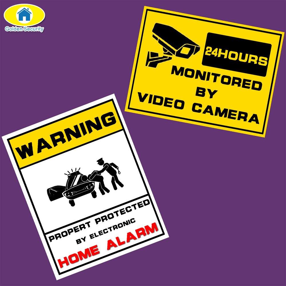 Золотой безопасности Предупреждение защищены на 24 час безопасности Системы Наклейки защищенные признаки тревоги наклейка Предупреждение ...