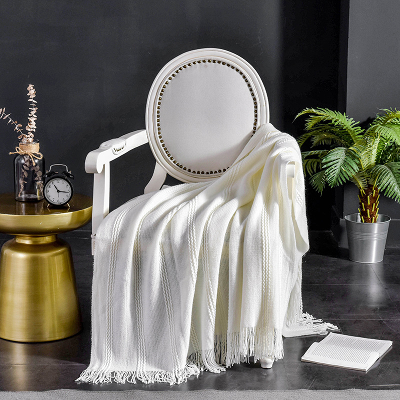 Solid Tassel Throw Blanket Sofa Cover White Grey Yellow Summer Blanket Bed Cover Bedspread for Home Hotel Four Season(China)
