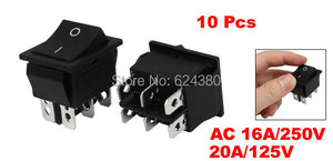 Snap in Boat Rocker Switch DPDT ON-ON Two 2 Posição 2P2T DT2T 2PDT 6 Pin 6 P 16A/250 V 20A/125 V AC Desconto x 10 Pcs/lote