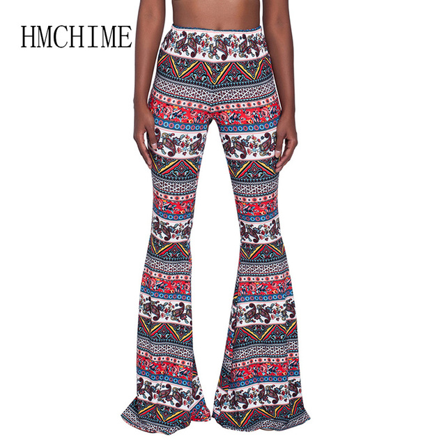 Print Pattern Women Wide Leg Pants Sexy Club Elastic Waist Female Trousers 8 Colors 5 Size Stretch Fabric Push Up Ladies Bottoms