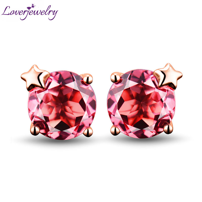Round 6x6mm Pink Tourmaline Stud Earrings In Solid 18Kt Rose Gold,Natural Gemstone Wedding Jewelry For Sale WE033 starry pattern gold plated alloy rhinestone stud earrings for women pink pair