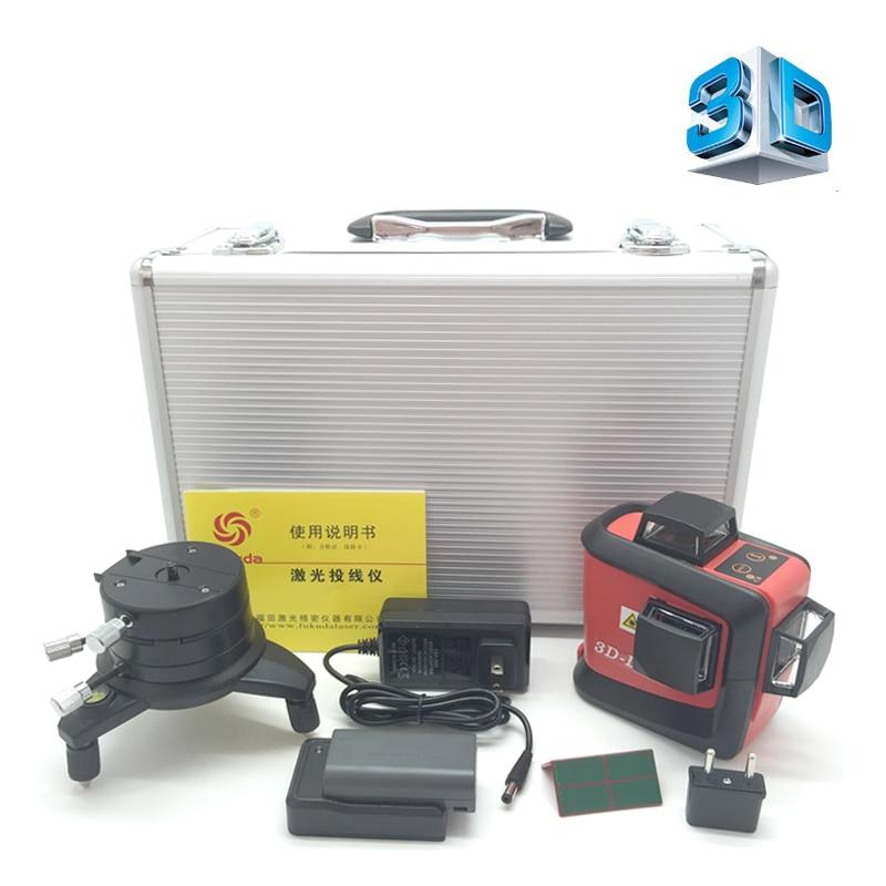 Fukuda 12 linhas de nível laser verde bateria de lítio MW-93T 360 Linha Vertical E Horizontal de Auto-nivelamento Cruz Laser 3D nível