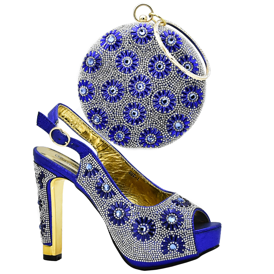 Newest Royal blue African Shoes And Bag Matching Set With Crystal Hot Selling Women Italian Shoes And Bag Set For women Wedding capputine african shoes and bag matching set with crystal hot selling women italian shoes and bag set for wedding dress bl735c
