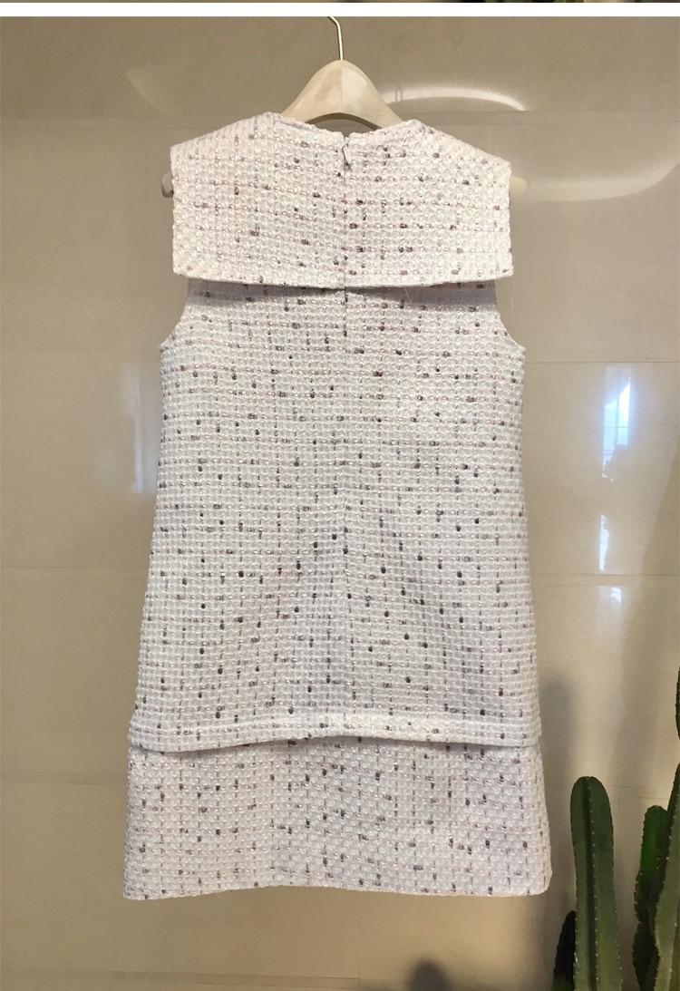 Tenue De Automne Hiver Marque Noël Designers Tweed Luxe Nouvelle Manches 2019 Qualité Fête Noir Perle Robes Supérieure Sans Femmes Piste rdQhts