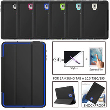 Volledige Bescherming Case Voor Samsung Galaxy Tab Een 10.5 2018 SM T590 T595 T597 Safe Shockproof Heavy Duty Tpu Hard Cover kickstand