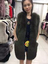 Luxury natural fox fur women's vest, long design real fur coat for women, autumn winter thick warm genuine fox fur waistcoat