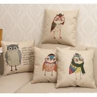 New arrival Zakka 1Pcs Cute Owl pattern household sofa cotton linen pillow cover/car cushion cover/bedding decoration/43cm*43cm