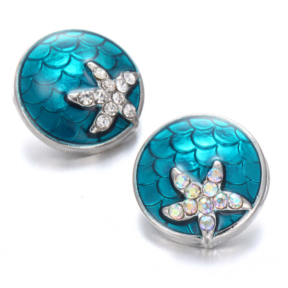 6pcs/lot New Snap Button Jewelry Snap Jewelry Rhinestone Starfish 18mm Snap Buttons Fit Snap Button Bracelet Women DIY Jewelry