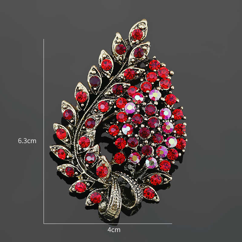 Baiduqiandu Berbagai Macam Warna Merah Kopi Biru dan Ungu Kristal Berlian Imitasi Bunga Daun Bros Pin Antik Vintage