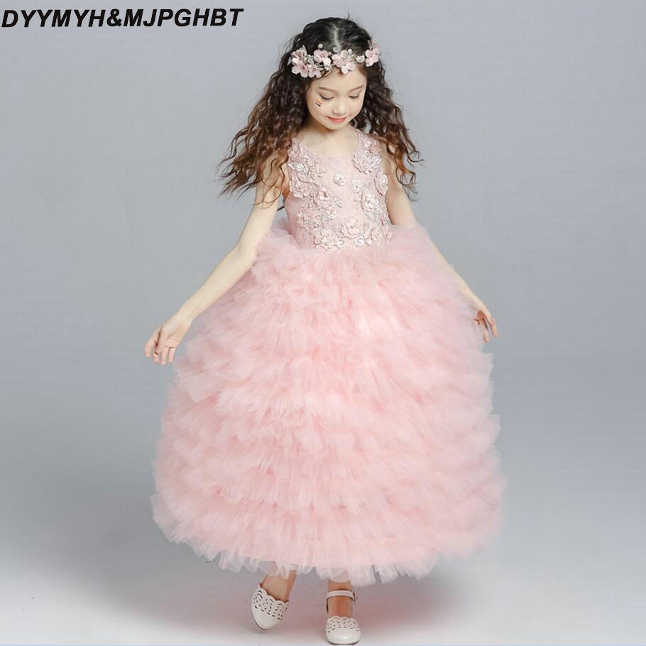Illusion Lace Top Flower Girl Dresses Tiered Tulle Skirt Ball Gown ...