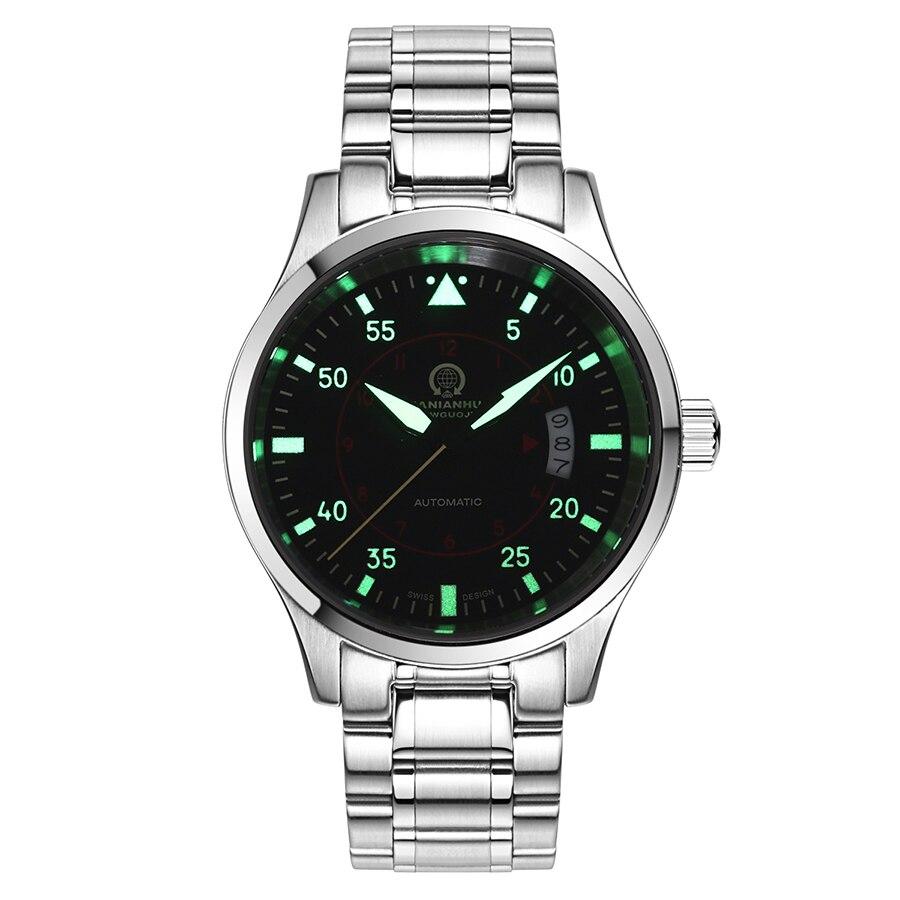 Saatler'ten Mekanik Saatler'de Erkek saatler Top marka lüks otomatik mekanik İzle erkekler karnaval deri çelik kayış kol saati erkek saat reloj hombre'da  Grup 2