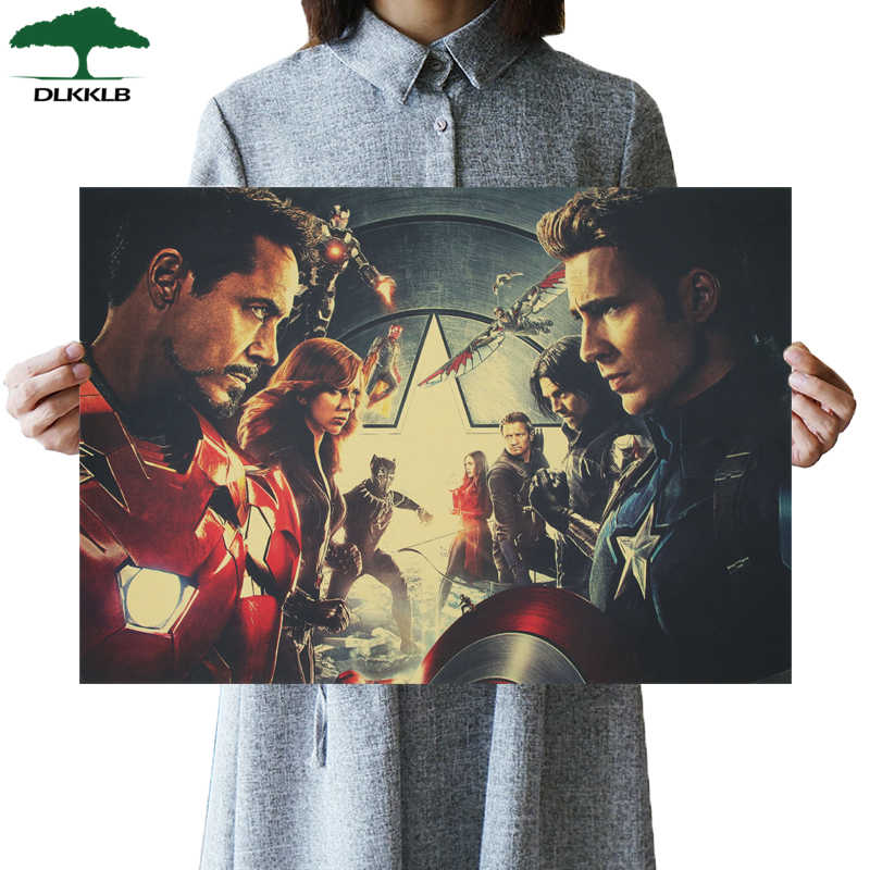 DLKKLB Marvel Vintage Captain America 3 Avengers Movie Poster di Carta Kraft Poster Complementi Arredo Casa Pittura Super Hero Wall Stickers