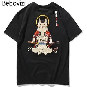 Bebovizi Brand 2018 Streetwear Japan Style Ukiyo E Funny Samurai Cat TShirts Mens Short Sleeve T-shirts Hip Hop Embroidery Tees(China)