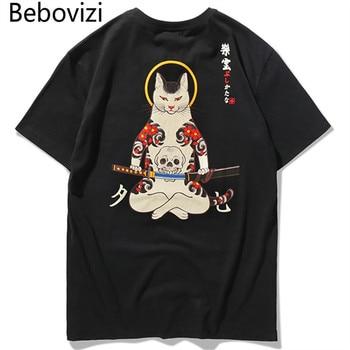 Bebovizi Brand 2018 Streetwear Japan Style Ukiyo E Funny Samurai Cat TShirts Mens Short Sleeve T-shirts Hip Hop Embroidery Tees