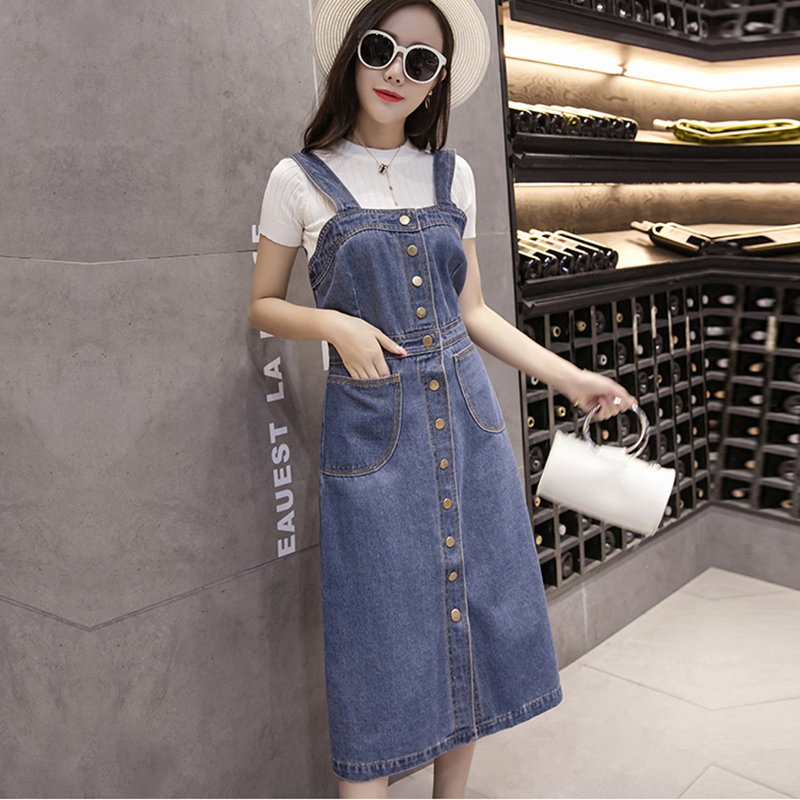Large Size Fashion Denim Dress Women Spring Summer Korean Casual Buckle Sleeveless Strap Split Sexy Slim Jeans Sundress M109