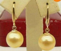 APERFECT ROUND 16MM golden SOUTH SEA Shell PEARL PENDANT + EARRING 14KGP