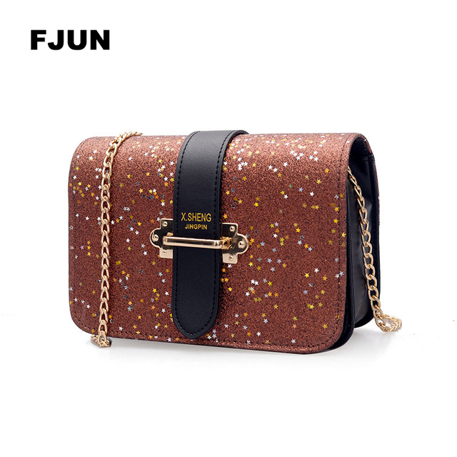 FJUN Gradient Rainbow Shiny Women Handbag Paillette Bling Bling Female  Glitter Sequined Messenger Bag Popular Party Lady Leather a0f7037c0e49