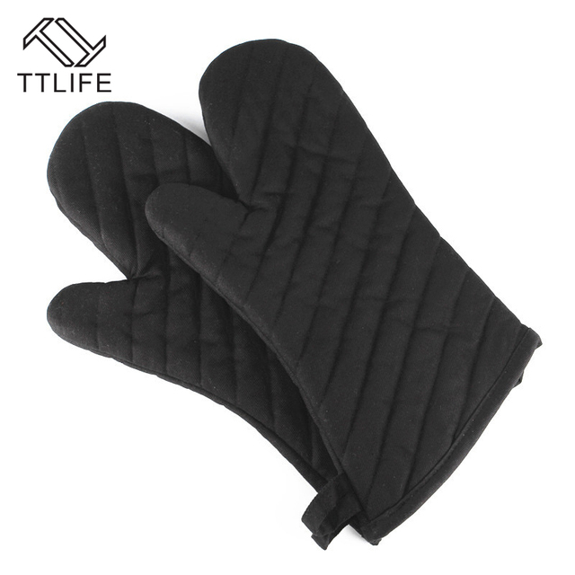 Kitchen Gloves C Ttlife 1 Pc Oven Mitts Polyester Cotton Black Twill Thicken Heat Resistant Bbq Gadgets