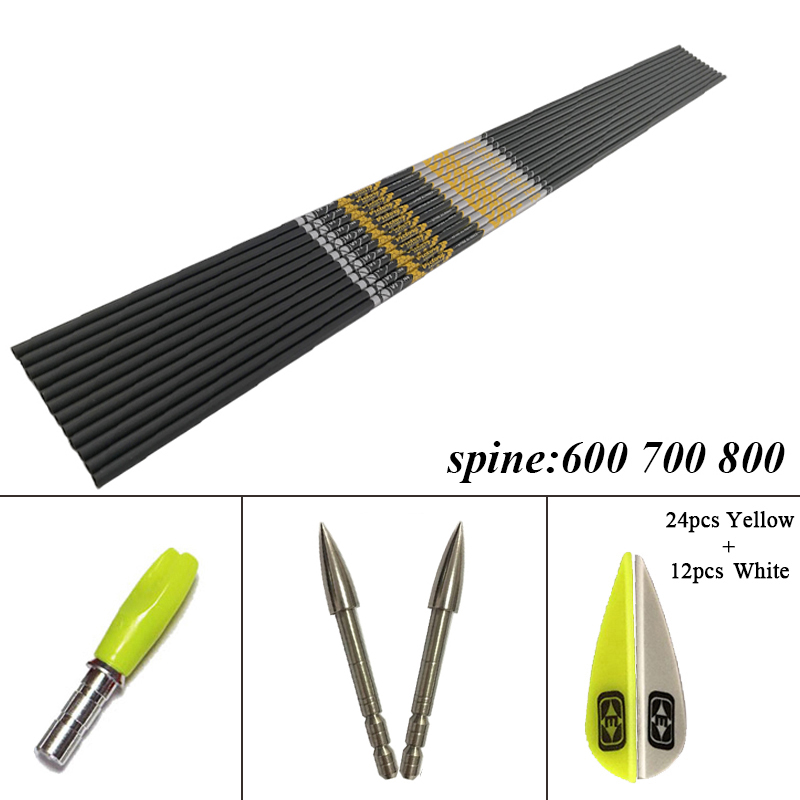 +/-0.001 Archery Spine 350 - 900 ID4.2mm Carbon Arrows Shaft V1 V3 Vanes Recurve Bow LongBow Hunting Shooting 12Set