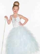 Free Shipping Fashionable Ball Gown Hater Floor Length Kids Dresses For Weddings With Top Beadings FG014