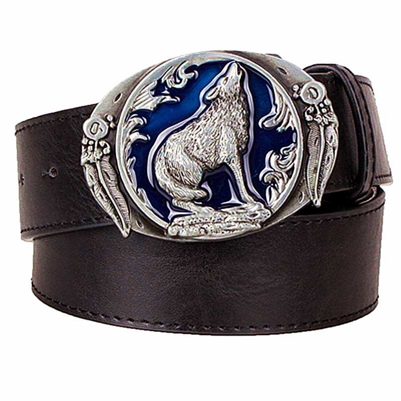 Personality mens leather   belt   Wolf totem strap male leather pin buckle metal   belt   werewolf head male casual   belts   gift for men