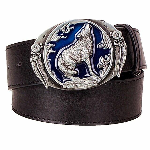 1ab3aef746f Personnalité hommes ceinture en cuir totem bracelet mâle en cuir boucle  ardillon ceinture en métal loup