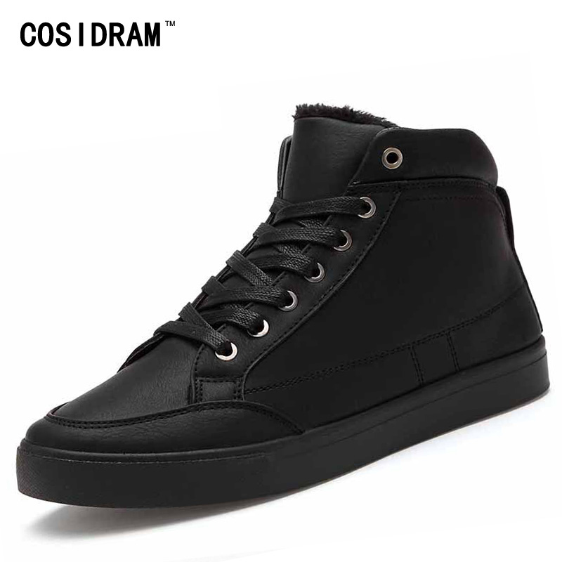 New 2016 High Top Men Shoes Winter PU Leather Fur Men Casual shoes Fashion Zapatos Hombre Warm Lace up Black Mens BRM-574  цены онлайн