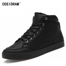 New 2016 High Top Men Shoes Winter PU Leather Fur Men Casual shoes Fashion Zapatos Hombre Warm Lace up Black Mens BRM-574