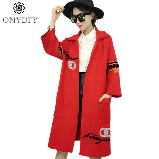 2017 Autumn Winter Runway Brand Letter Embroidery Knitted Cardigan Long Trench Coat For Women Oversized Sweaters Dames Jassen