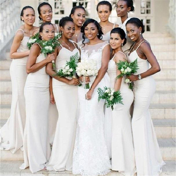 2019 New White Mermaid Bridesmaid Dresses Spaghetti Strap Floor Length Sexy Summer Wedding Party Gowns Cheap Maid Of Honor Dress