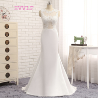 HVVLF Vestido De Noiva 2018 Beach Wedding Dresses Mermaid High Collar Applique Lace Vintage Wedding Gown Bridal Dresses