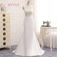 HVVLF Vestido De Noiva 2018 Brautkleider Meerjungfrau Stehkragen Applikationen Spitze Vintage Hochzeitskleid Brautkleider
