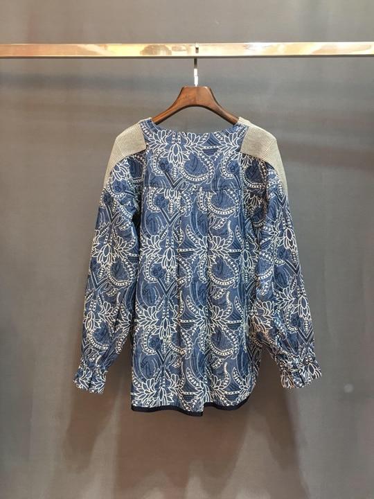 Bande Chandail Longues Et Embroidery1222 2018 Bleu Hiver Avec Automne Manches À gris Retour Baituan Tricoté ZYPxxq8