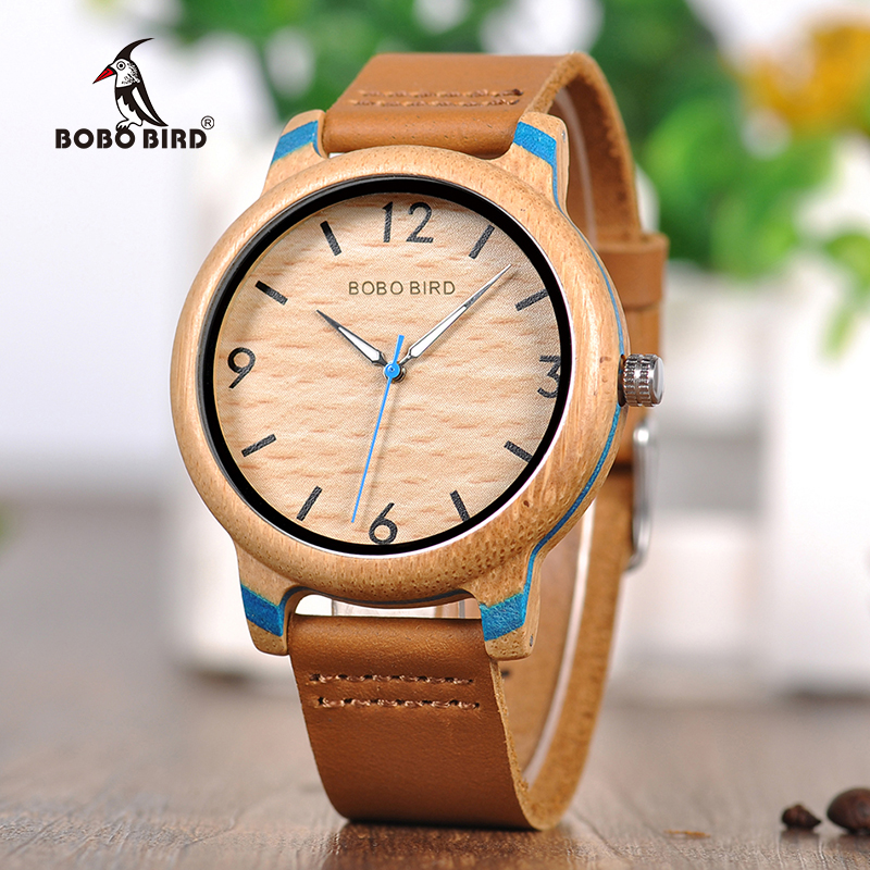 BOBO BIRD Couple Watch Women Wooden Men's Watches Quartz Men Bamboo Relogio Feminino Erkek Kol Saati In Gifts Box