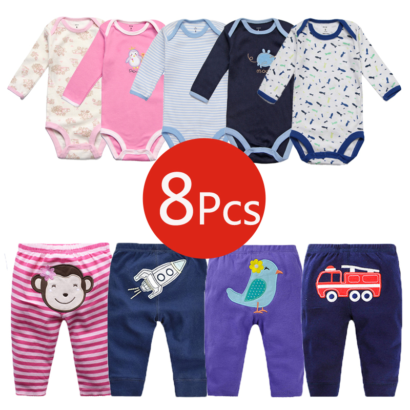 8Pcs Baby Clothing Sets Autumn Baby Girl Clothes Cotton Newborn Clothes Roupas Bebe Infant Baby Girl Clothes Baby Rompers+Pants baby rompers halloween baby girl clothes spring newborn baby clothes cotton baby boy clothing roupas bebe infant jumpsuits