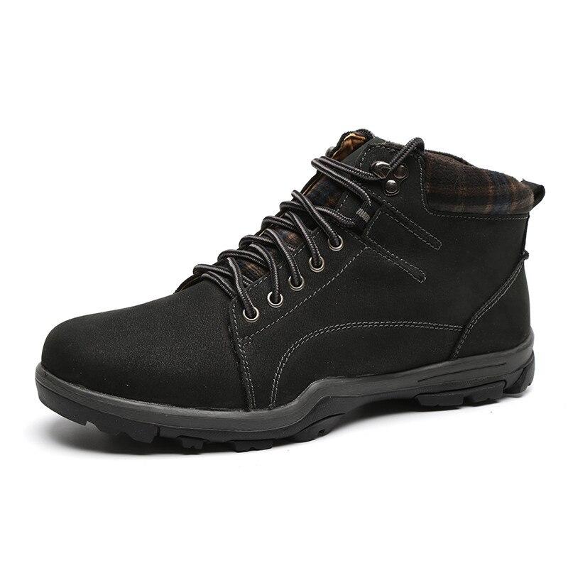 LINGGE/Брендовые мужские ботинки высокого качества Дизайнерские ботильоны на шнуровке Мужская Рабочая Мужская обувь из натуральной кожи#692-5 - Цвет: black