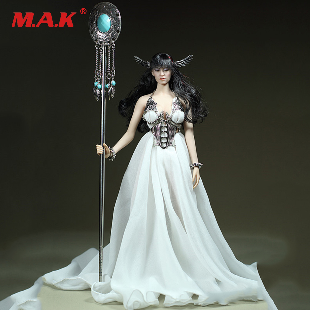 Custom 1/6 Scale Female Action Figure Clothes White Dress With Silver/Gold   Accessories for Large Bust Figure Dolls custom 1 6 scale denon female soldier clothing for 12 phicen large medium bust body doll toys accessories p45