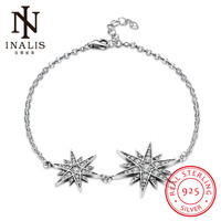INALIS 925 Sterling Silver Bracelet Fashion Double Star Design Bracelet For Women Girl Female Jewelry Wedding