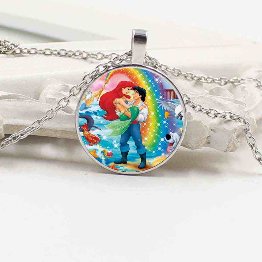 2019 new charm mermaid glass round pendant sweater chain necklace jewelry gift