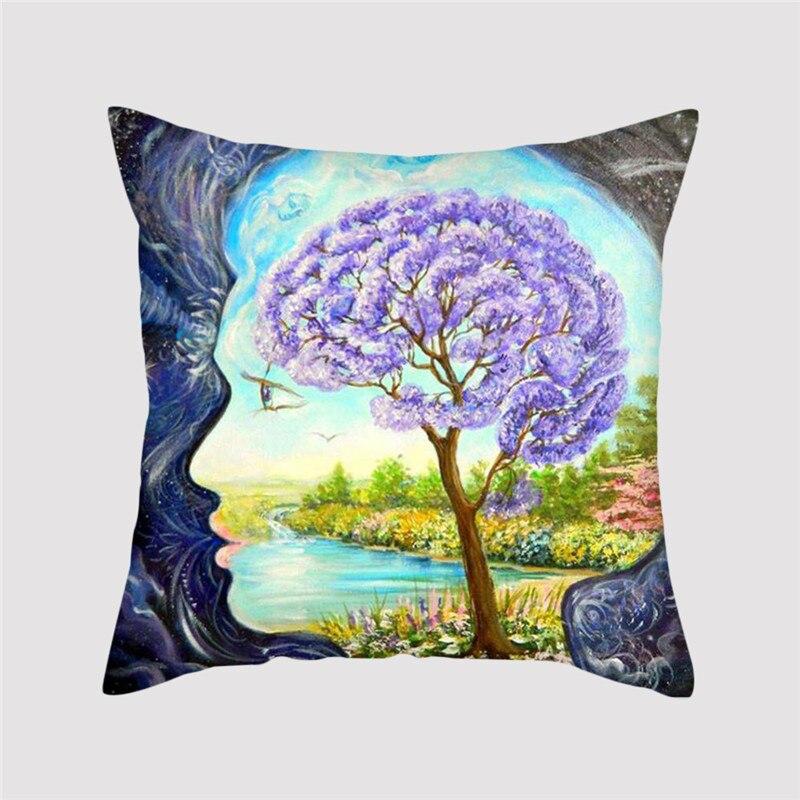 Fuwatacchi plante peinture housse de coussin arbre fleurs paysage taie d'oreiller maison décoratif oreillers couverture pour canapé-lit décor oreiller