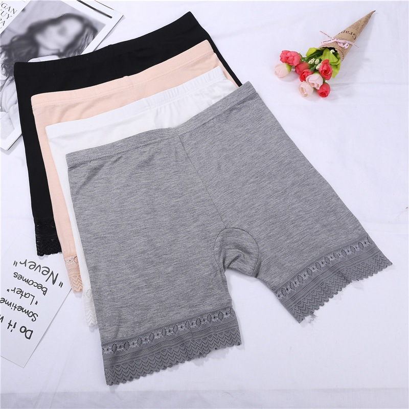 Women Safety Pants Modal Seamless Sexy Lace Panties Summer Comfy Ultra-Thin Solid Color Boxer Femme Short Pants Feminino