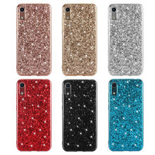Phone Case for Huawei Y6 Pro 2019 Silicon Bling Glitter Crystal Sequins Soft TPU Cover Fundas Coque