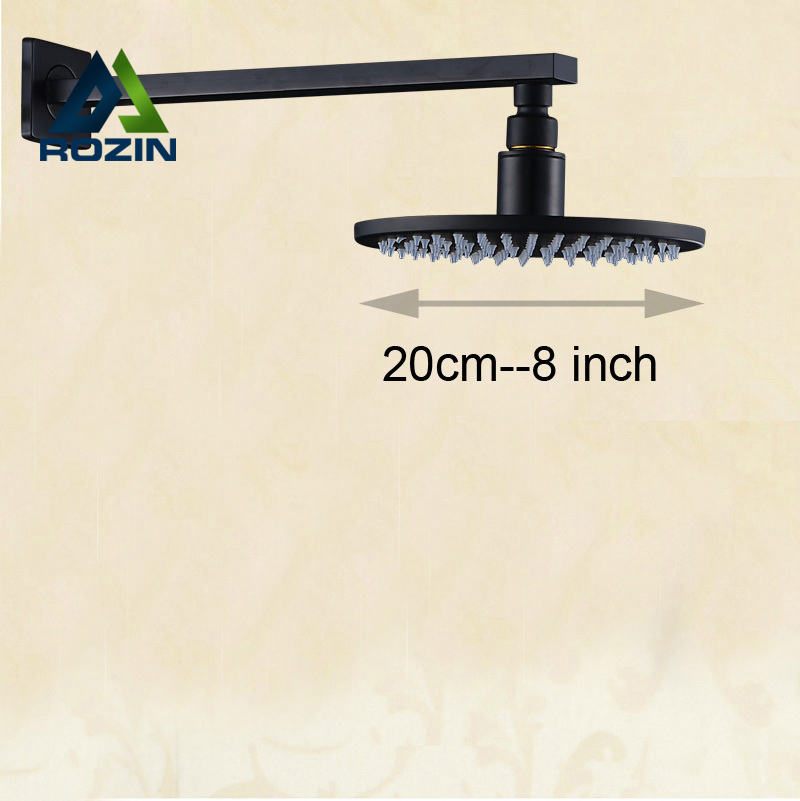 Oil Rubbed Bronze 8 inch Rain Bathroom Rainfall Shower Head + Wall Mount Brass 37cm Shower Arm/holder luxury led color changing 12 square rainfall shower head with brass wall mount shower arm oil rubbed bronze