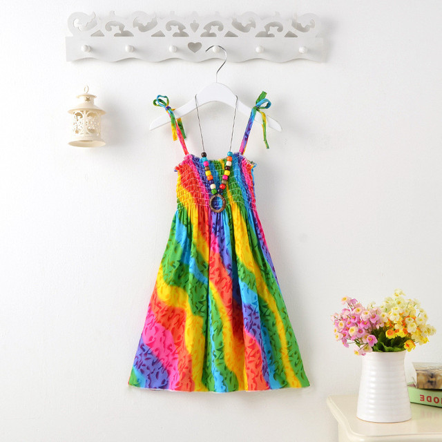 2-13T Flower Casual Girls Dress Sundress Boho Teenagers Children Clothing Beach Party Baby Summer Dresses Bohemian Vestidos
