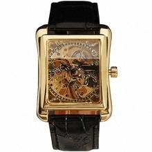 2016 GANADOR Retro Señoras Reloj Mecánico Semiautomático Mujeres Rectángulo Relojes de Pulsera Esqueleto Correa De Cuero de Regalo + CAJA
