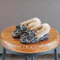 Koovan Children Flats 2017 Winter New Children's Shoes Girls Checkered Cloth Rabbit Fur Cotton Shoes Bowknot Cotton Princess