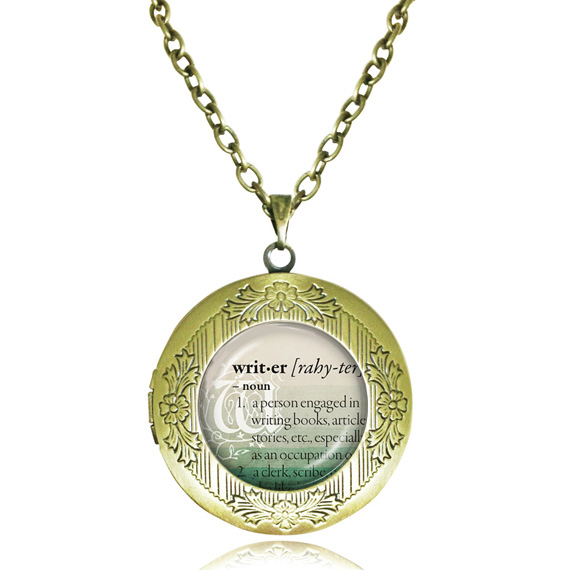 Vintage writer locket necklace glass cabochon letter pendant quote vintage writer locket necklace glass cabochon letter pendant quote jewelry dictionary definition of writer photo frame locket in pendant necklaces from aloadofball Choice Image
