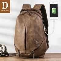 DIDE USB charging 15.6 inch Laptop Backpacks For School Bag Male Mochila Vintage Casual Business Travel backpack Bag Men