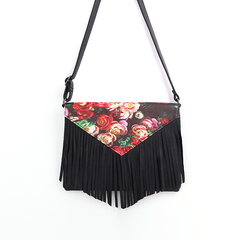 New Style Retro Minimalist Crossbody Bag Fashion Small Women Shoulder Bag Floral Envelope Bag Tassel Women Messenger Bag new punk fashion metal tassel pu leather folding envelope bag clutch bag ladies shoulder bag purse crossbody messenger bag